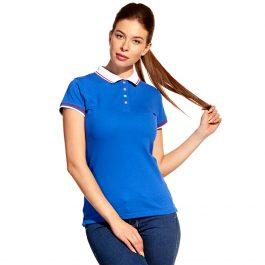 синяя женская рубашка поло с триколором