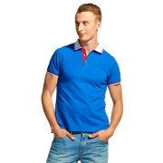 синяя мужская рубашка поло с триколором