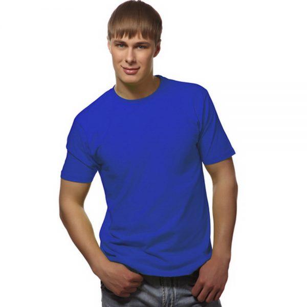 мужская однотонная синяя футболка с круглым вырезом