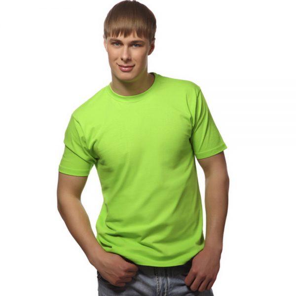 мужская однотонная ярко зеленая футболка с круглым вырезом