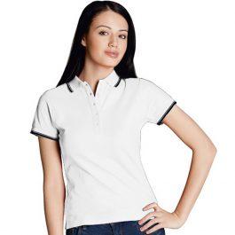 белая женская рубашка поло с кантами