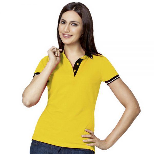 желтая женская рубашка поло с контрастными вставками