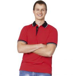 красная мужская рубашка поло с контрастными вставками