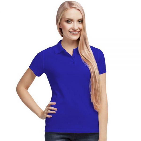синяя синтетическая женская рубашка поло