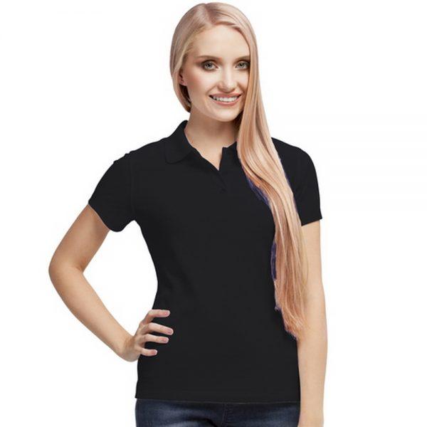 черная синтетическая женская рубашка поло