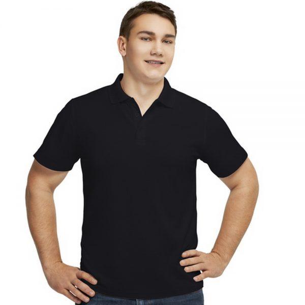 мужская черная синтетическая рубашка поло