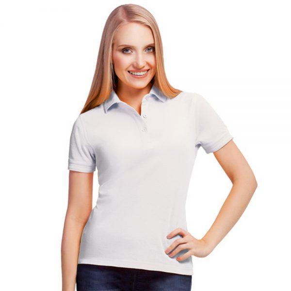белая хлопковая женская рубашка поло