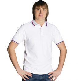 белая с белым воротником мужская рубашка поло расцветки триколор
