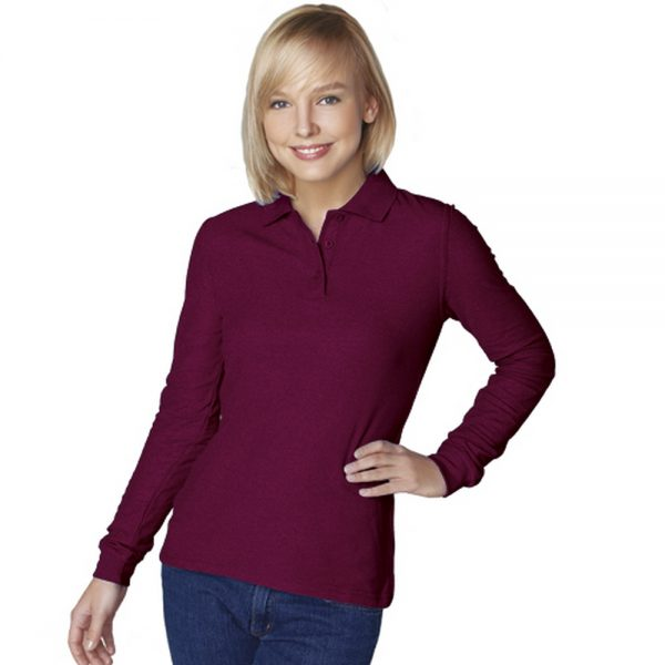 винная - бордовая женская рубашка поло с длинным рукавом