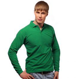 зеленая мужская рубашка поло с длинным рукавом