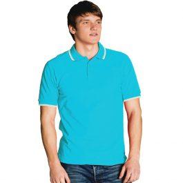 бирюзовая мужская рубашка поло с кантами