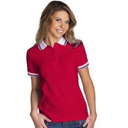 красная с белым воротником женская рубашка поло расцветки триколор
