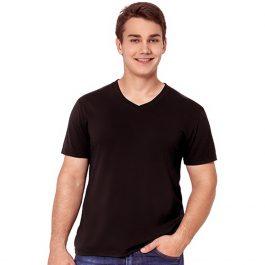 мужская черная футболка с V-вырезом