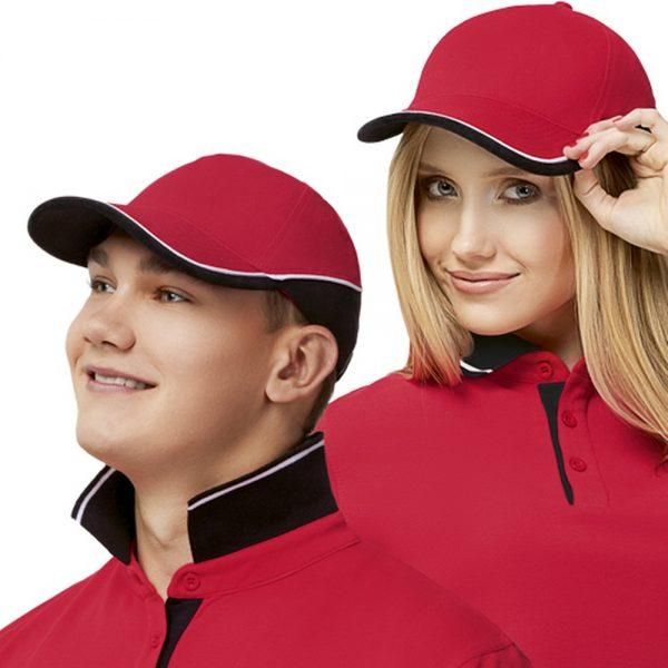 красная двухцветная бейсболка