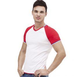 белая мужская футболка с триколором