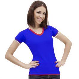 синяя женская футболка триколор с V-вырезом