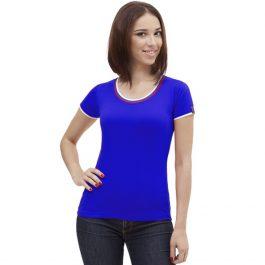 синяя женская футболка триколор с круглым вырезом