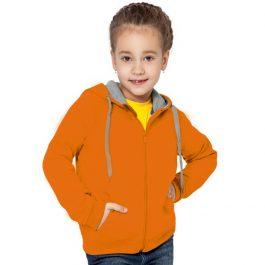 оранжевая детская толстовка на молнии с капюшоном