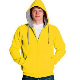 желтая мужская толстовка на молнии с капюшоном