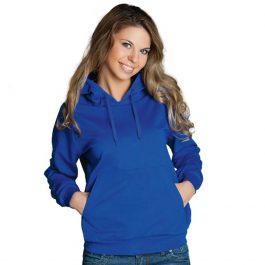 синяя женская толстовка с капюшоном и карманом кенгуру