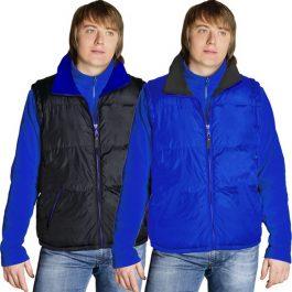 утепленный двусторонний синий мужской жилет