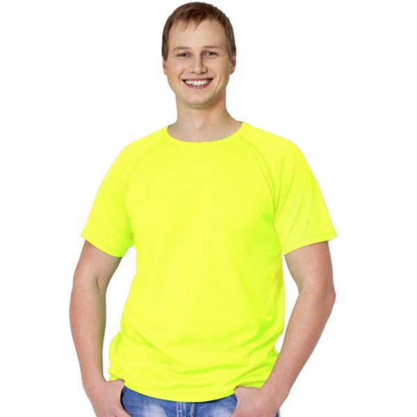 """желтая мужская футболка материал """"ложная сетка"""""""