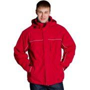 красная мужская утепленная куртка на синтепоне с капюшоном