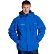 синяя мужская утепленная куртка на синтепоне с капюшоном