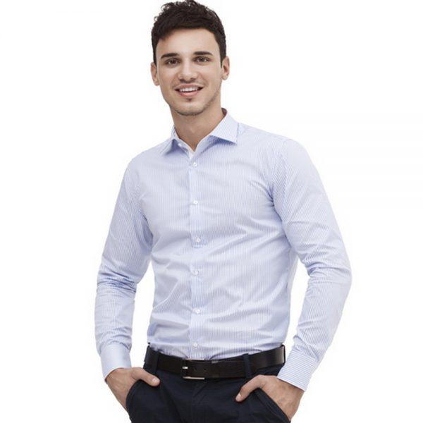 мужская классическая сорочка в бело голубую полоску