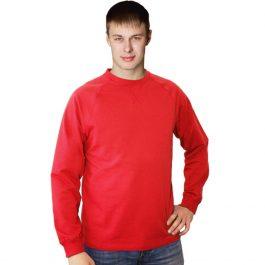 красный свитшот, толстовка с круглым воротом