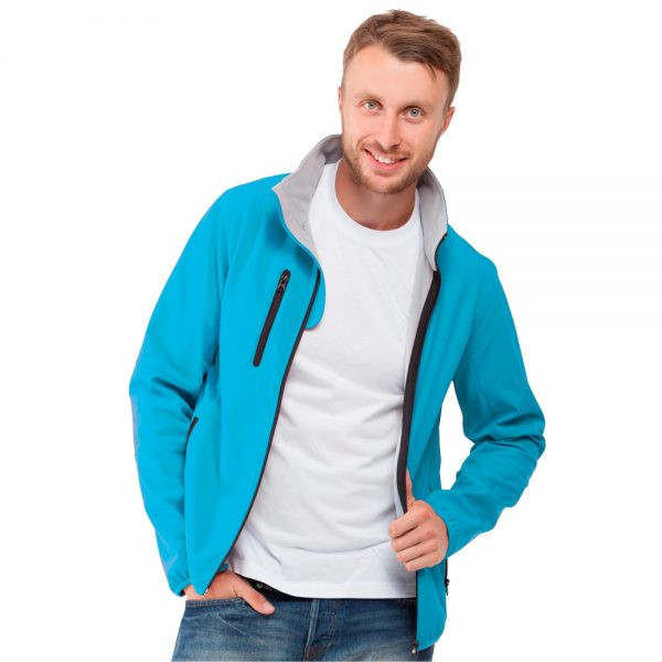 лазурная мужская куртка воротник стойка софтшелл