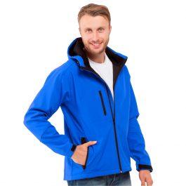 синяя мужская куртка с капюшоном материал софтшелл