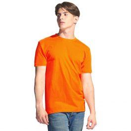 Мужская однотонная футболка оранжевая