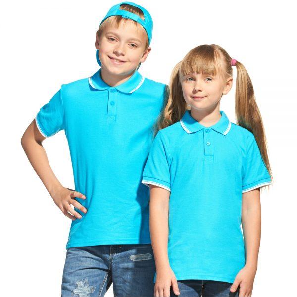 бирюзовая рубашка поло для мальчиков и девочек