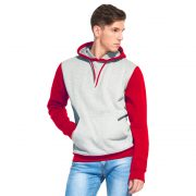 мужская толстовка с капюшоном и карманом кенгуру цвет контрастный серый меланж с красным