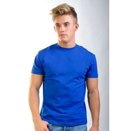 синяя плотная хлопковая мужская футболка Leela