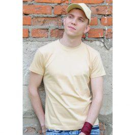 однотонная бежевая футболка Leela 180 унисекс
