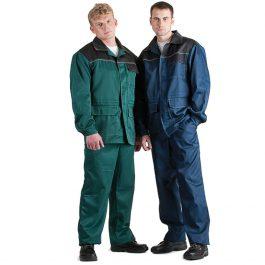 Костюм Передовик-(куртка+брюки) зеленый, синий с черным