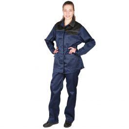 Костюм Передовик женский (куртка+брюки) синий с черным