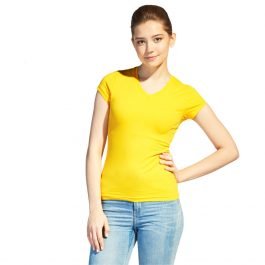 желтая женская футболка v-ворот
