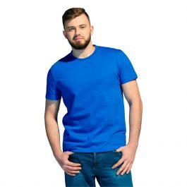 синяя мужская футболка, плотность 180 гр/м2