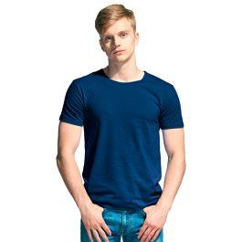 мужская стрейчевая футболка с круглым воротом цвет темно синий