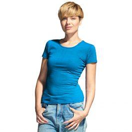 Женская футболка-стрейч с лайкрой, цвет лазурный