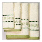 Зеленые полотенца с ракушками всех размеров