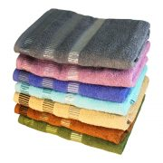 полотенце с цветными полосами в бордюре