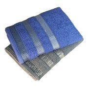 Серое и синее полотенце с полосами в бордюре оптом