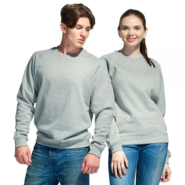 свитшот универсальный, толстовка с круглым воротом для мужчин и женщин цвет серый меланж