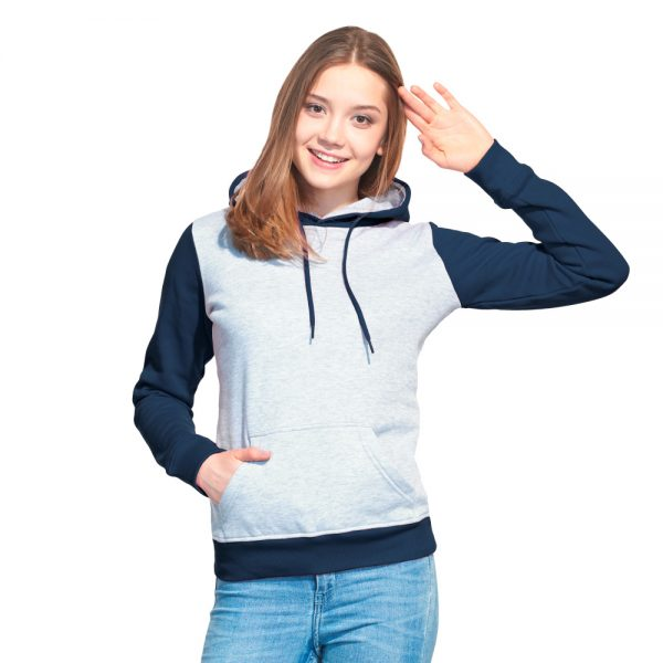 женская толстовка с капюшоном и карманом кенгуру цвет контрастный серый меланж с темно синим
