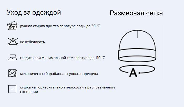 размерная сетка вязанной шапки с отворотом