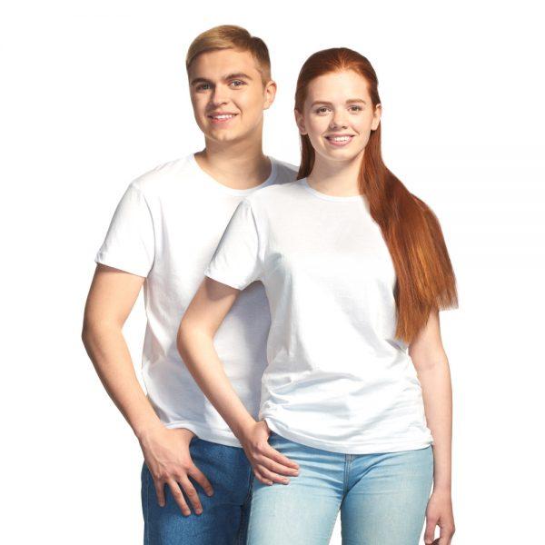 Универсальная, бюджетная, дешовая белая промо футболка